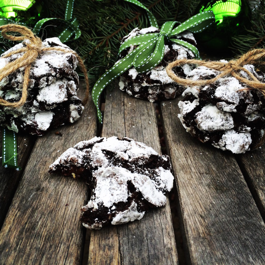 { chocolate crinkles + peppermint bark }