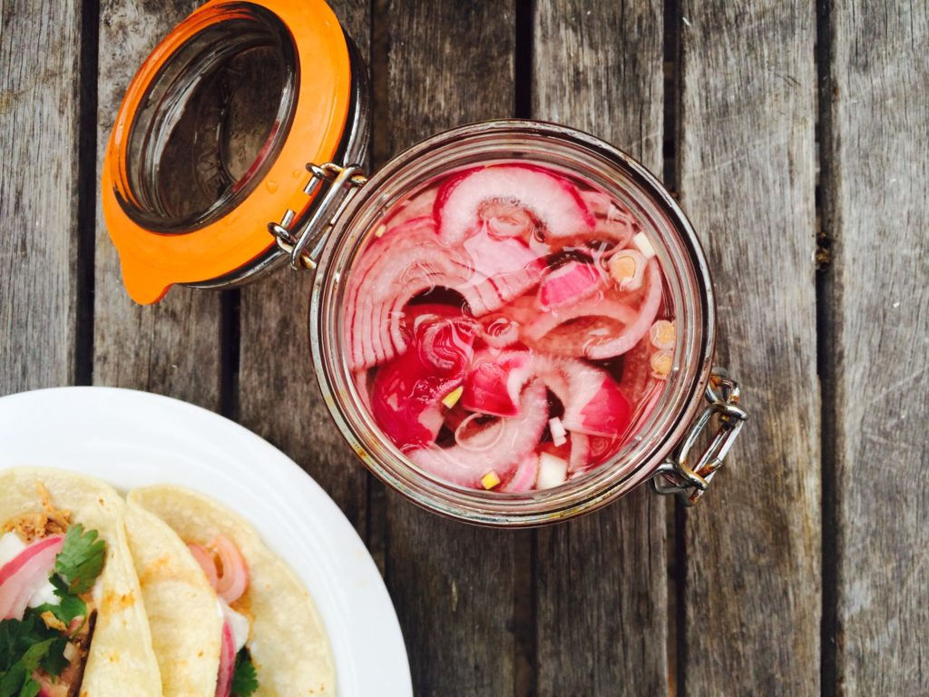 { tangy + crunchy pickled red onions }