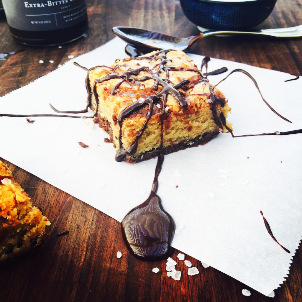 { salted caramel + brown butter stacked  blondie-brownie } The Defibrillator @ DisplacedHousewife