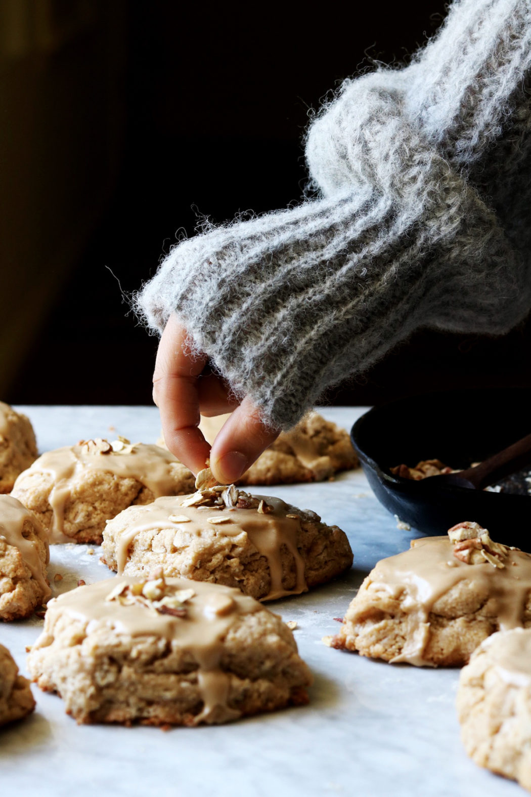 Maple Oat Scones With Espresso Glaze Recipe by Rebecca Firth | DisplacedHousewife