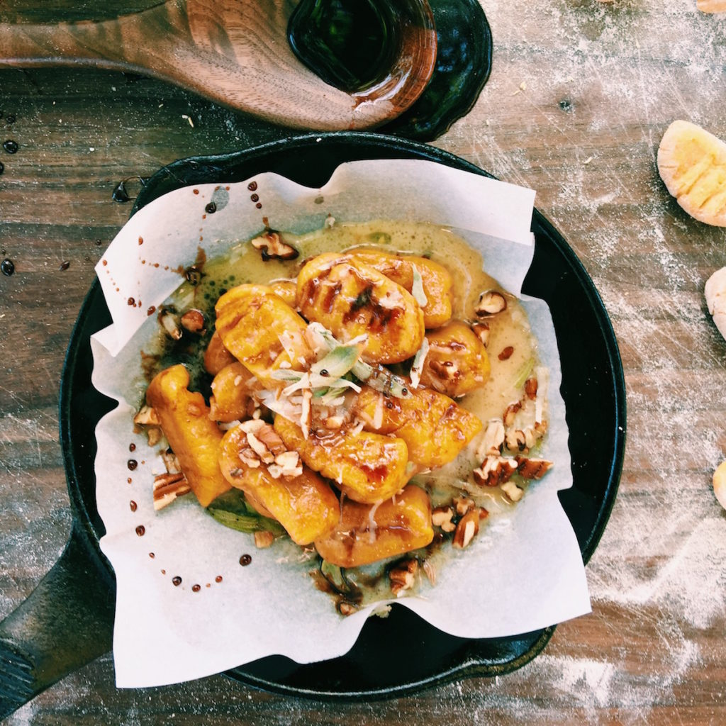 pumpkin gnocchi with creamy browned sage butter + pomegranate molasses   DisplacedHousewife