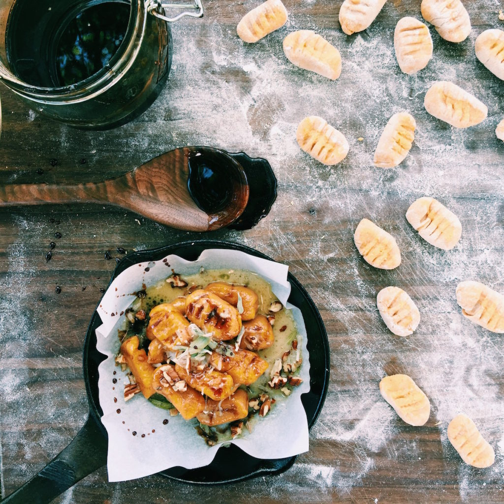 pumpkin gnocchi with creamy sage butter + pomegranate molasses | DisplacedHousewife