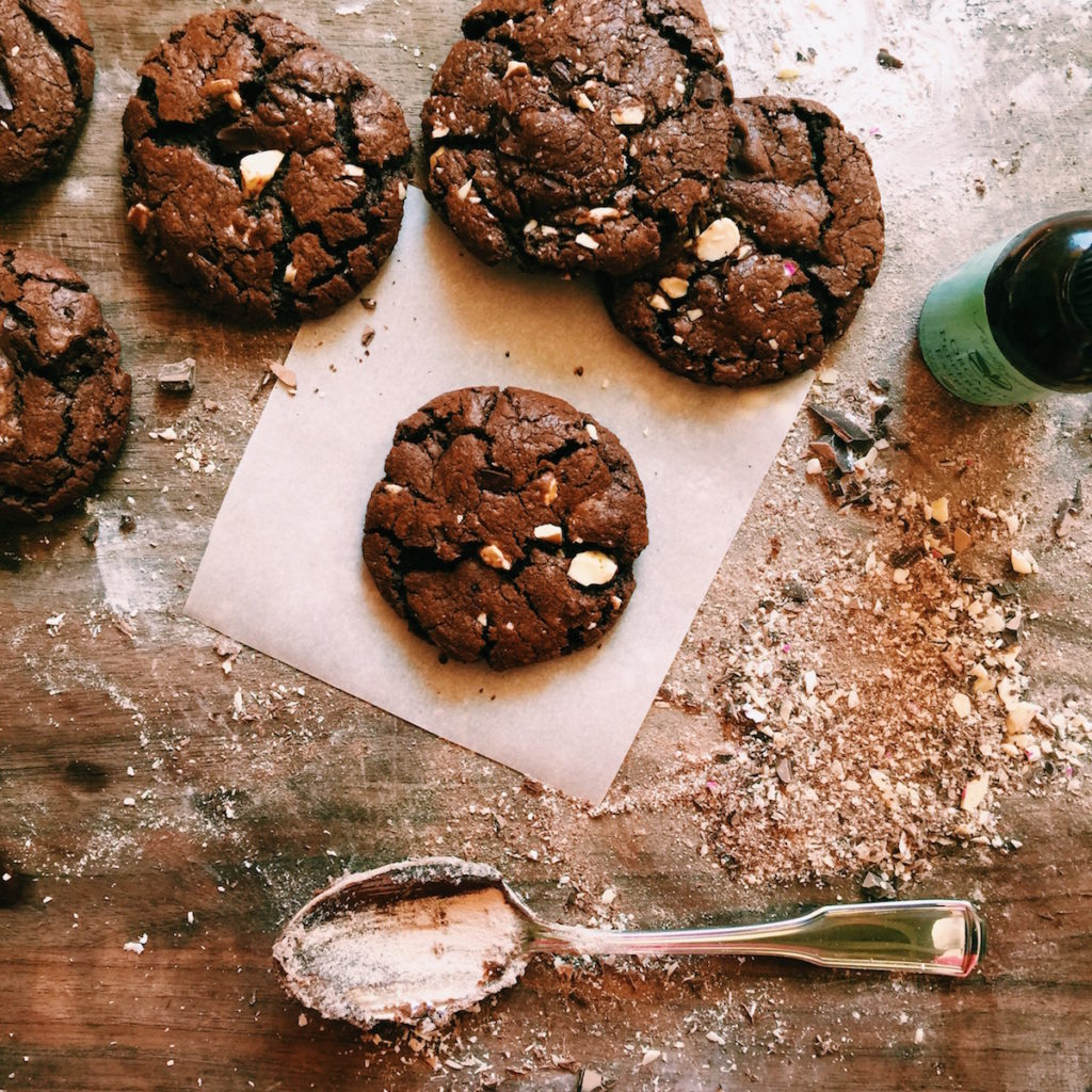 double chocolate + peppermint bark cookies | Recipe via DisplacedHousewife