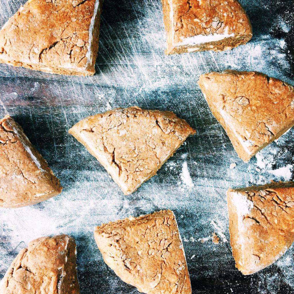gingerbread scones + boozy spiced rum schmooey | Recipe via DisplacedHousewife