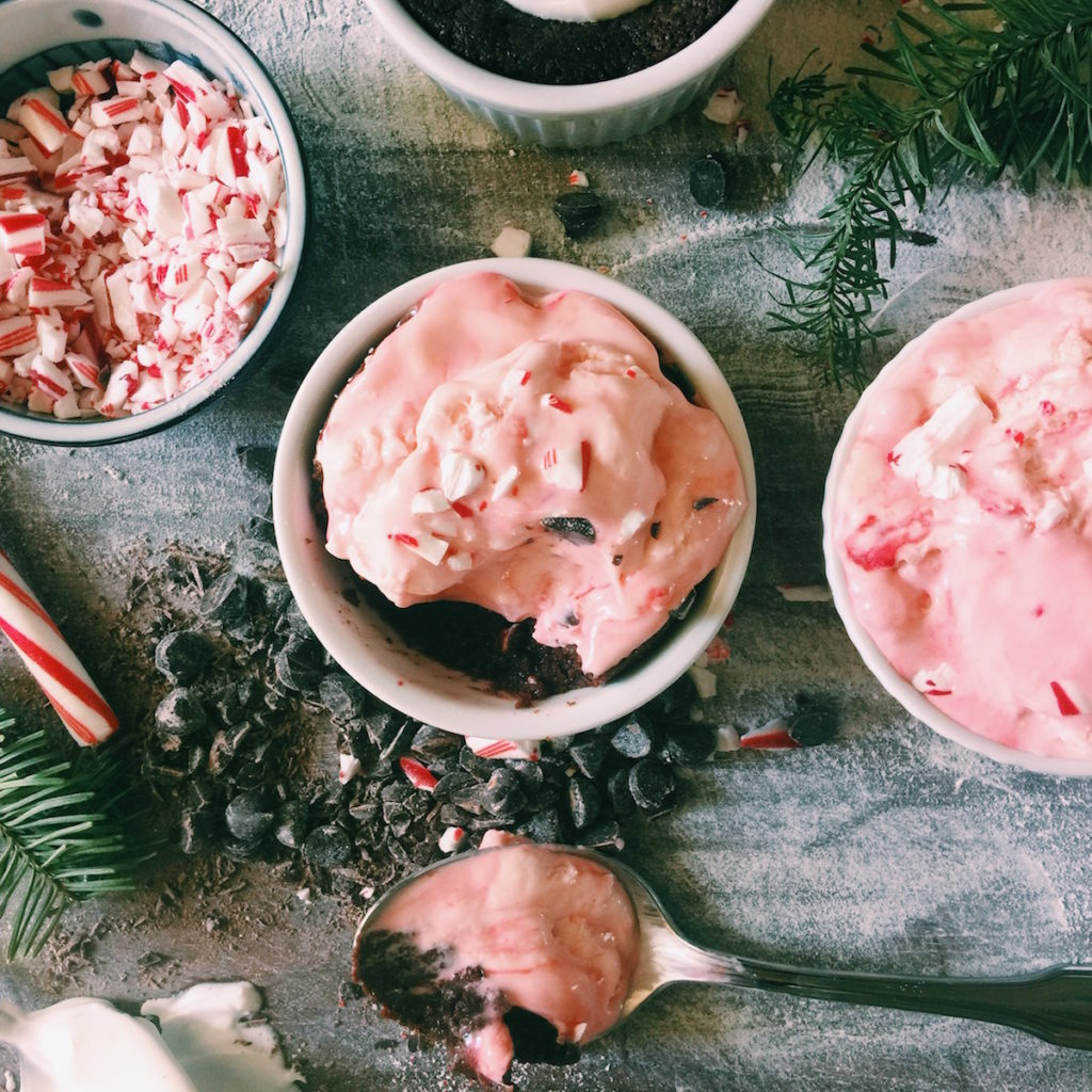 candy cane ice cream + chocolate pudding cakes | Recipe via DisplacedHousewife
