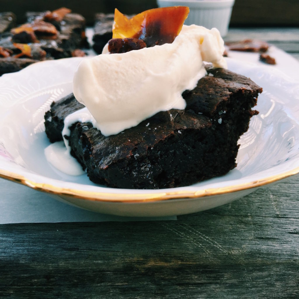 fudgy brownie + caramelized pecan brittle | Recipe via DisplacedHousewife