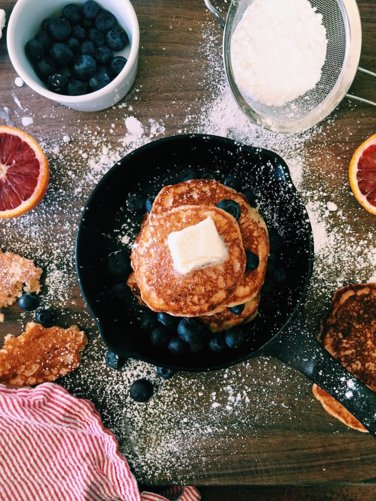 fluffy whole-wheat buttermilk pancakes | Recipe via DisplacedHousewife