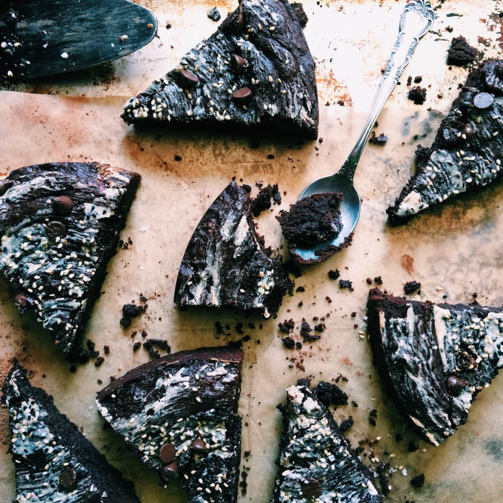 tahini brownies with black + tan sesame sprinkles | Recipe via DisplacedHousewife