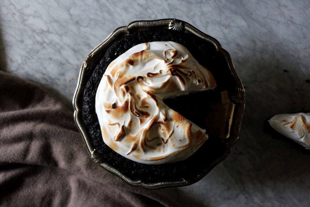 Chocolate Rye Stout Cake With Marshmallow Meringue Recipe | Displaced Housewife
