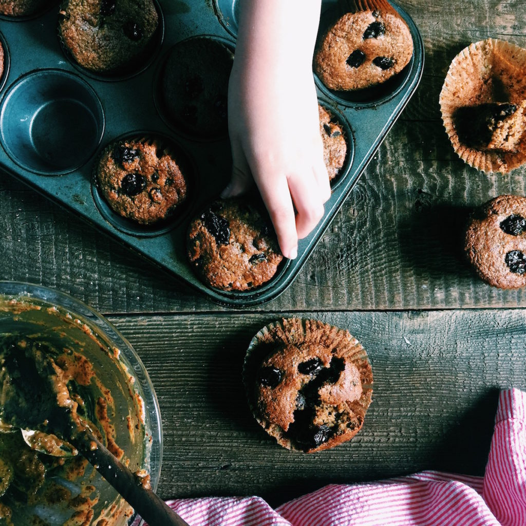 Chia Cherry Muffins | Recipe via DisplacedHousewife | #muffins #baking #healthy @displacedhousewife
