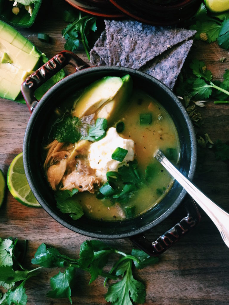 chicken tomatillo soup | Recipe via DisplacedHousewife