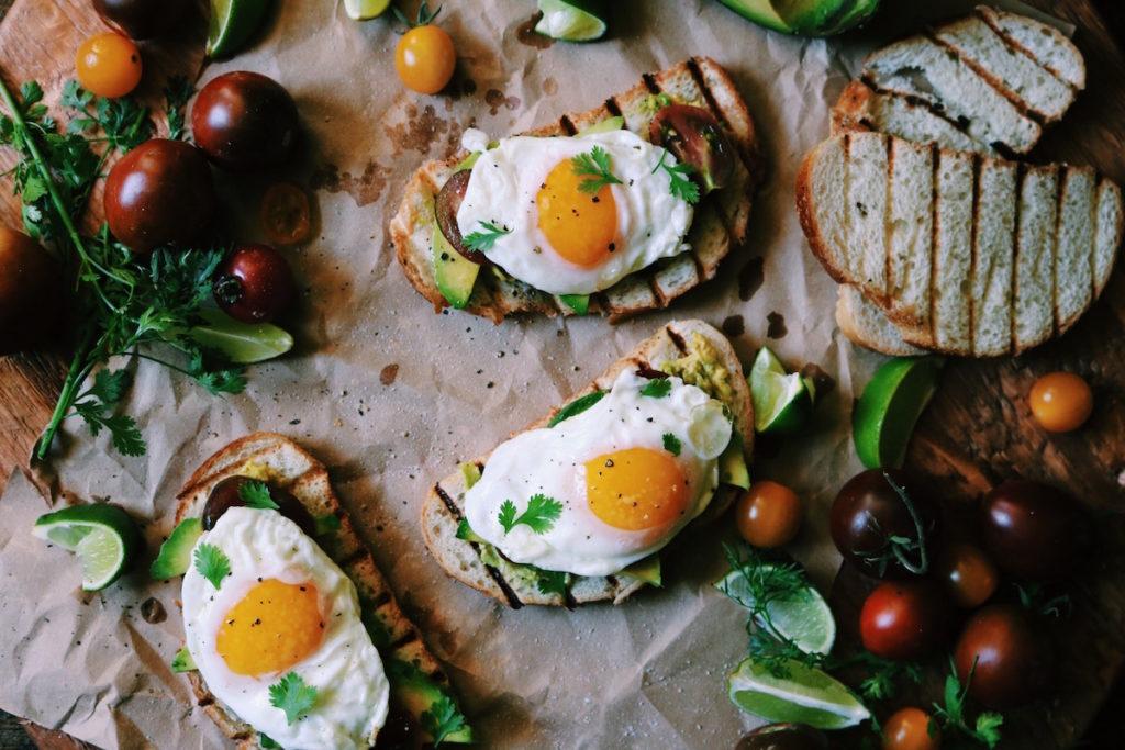 spanish fried egg, smashed avocado + heirloom tomato toast | recipe via DisplacedHousewife