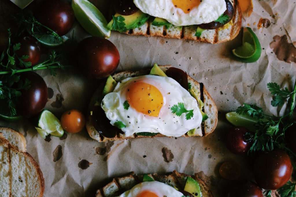 olive oil fried egg, avocado + heirloom tomato toast | Recipe via DisplacedHousewife