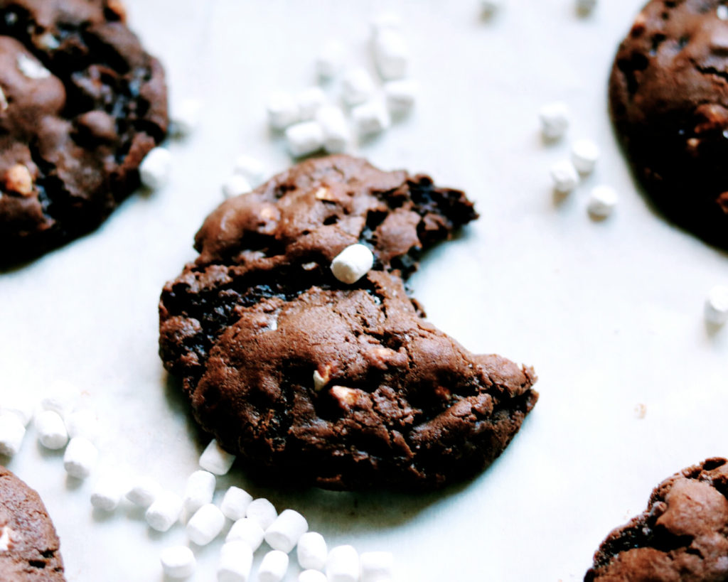 Chocolate Marshmallow Cloud Cookies | Recipe via DisplacedHousewife | Thick, chewy + chocolatey cookies studded with perfect cereal-like marshmallows | @displacedhousewife