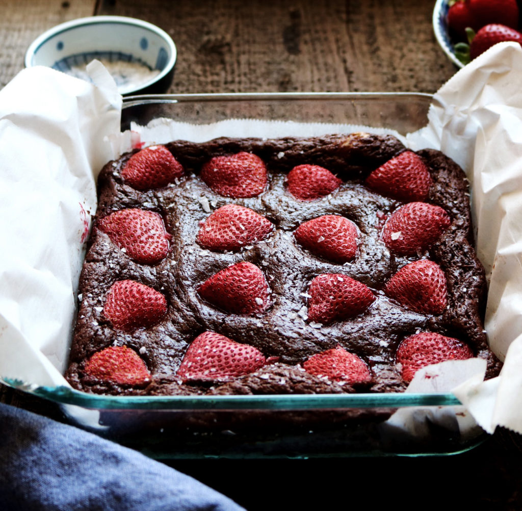 Balsamic Strawberry Brownies | recipe via DisplacedHousewife | quick + easy brownie recipe with some balsamic + strawberry jazz hands...these make AMAZING brownie sundaes!!! xo