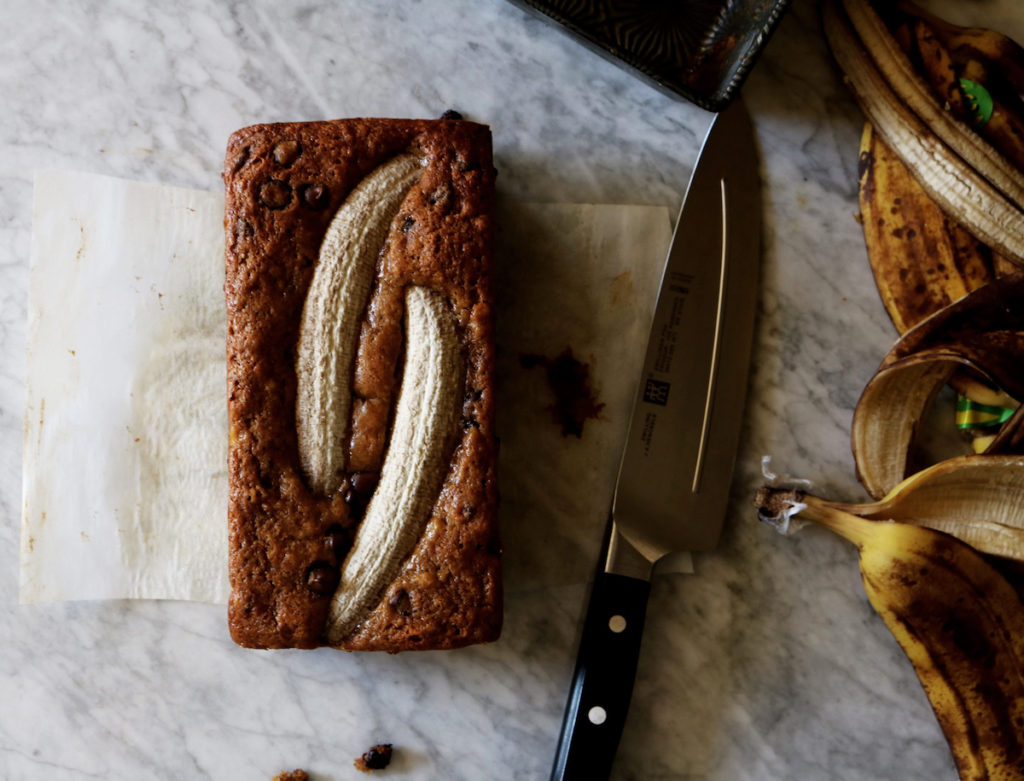 whoBrown Butter Muscovado Banana Bread | recipe via DisplacedHousewife | this is next level banana bread...loaded with spices and espresso and dotted with chocolatel