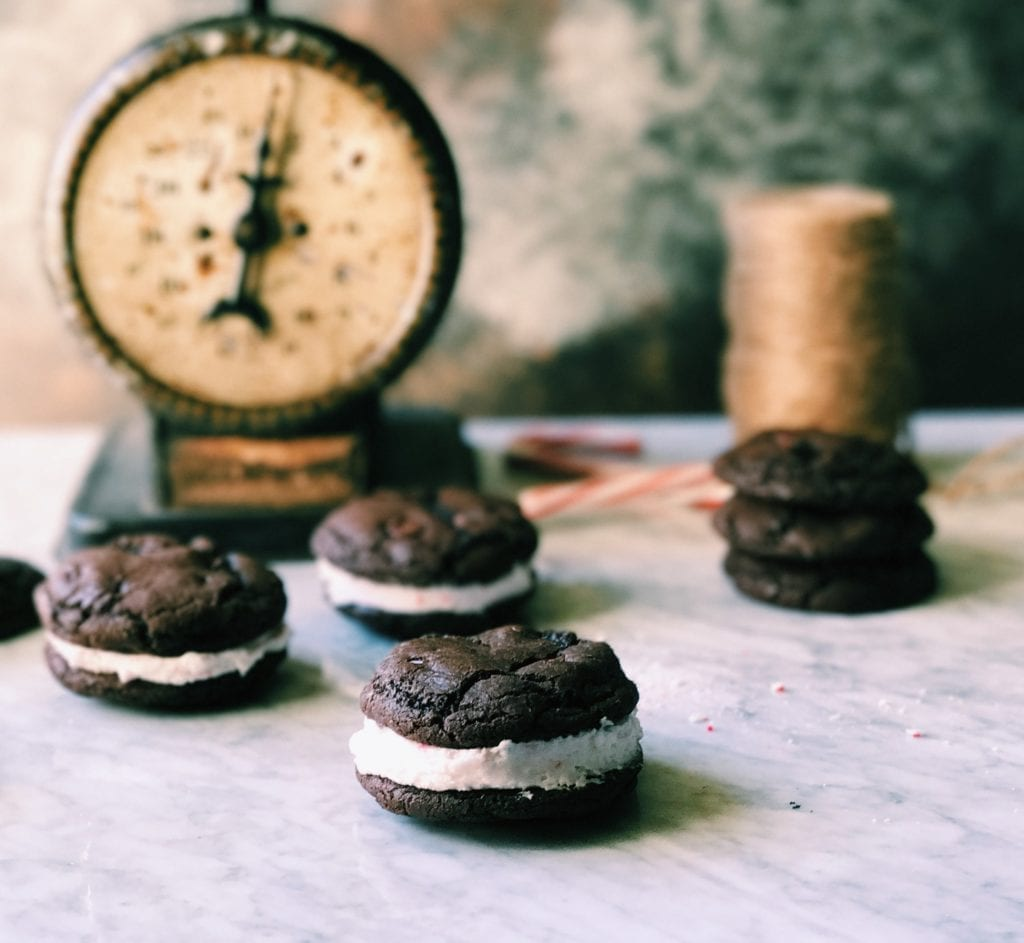 Double Chocolate Peppermint Cookie Sandwiches | Recipe via DisplacedHouse | christmas in a bite xo