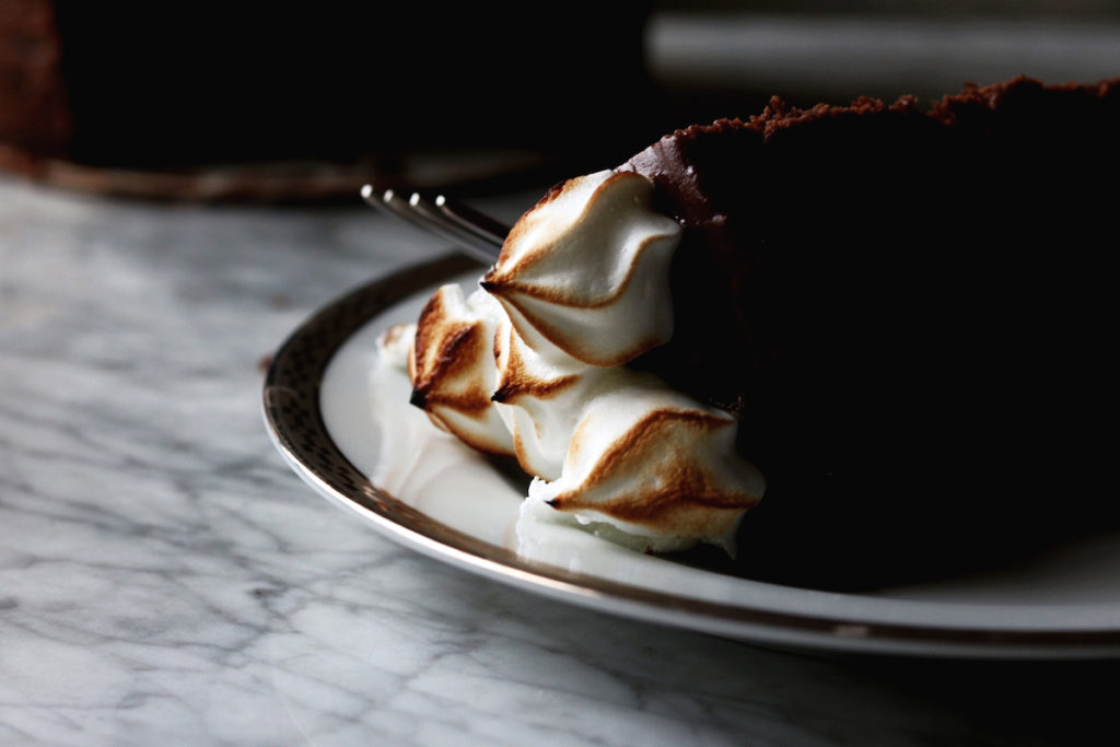 Chocolate Malted Layer Cake With Toasted Meringue Recipe | Displaced Housewife