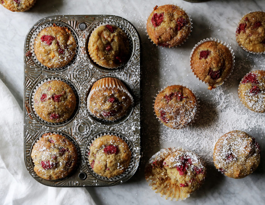 Raspberry Peach Orange Blossom Muffins Recipe | Displaced Housewife