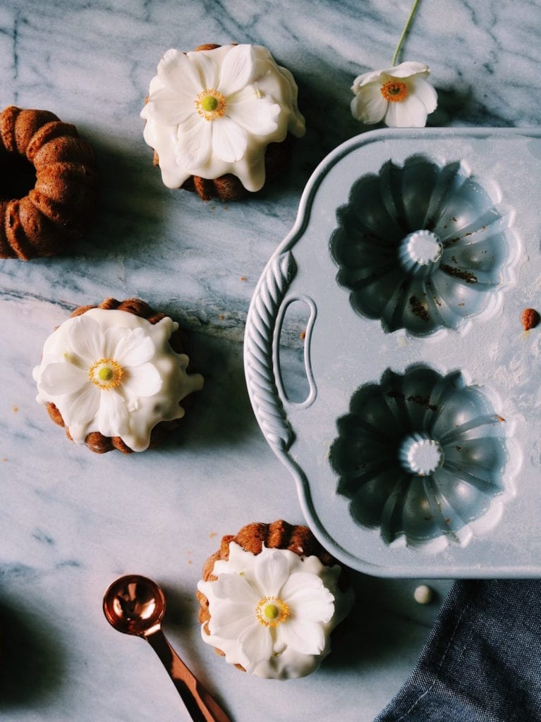 Pumpkin Bourbon Mini Cakes With Spiced Maple Glaze Recipe | Displaced Housewife