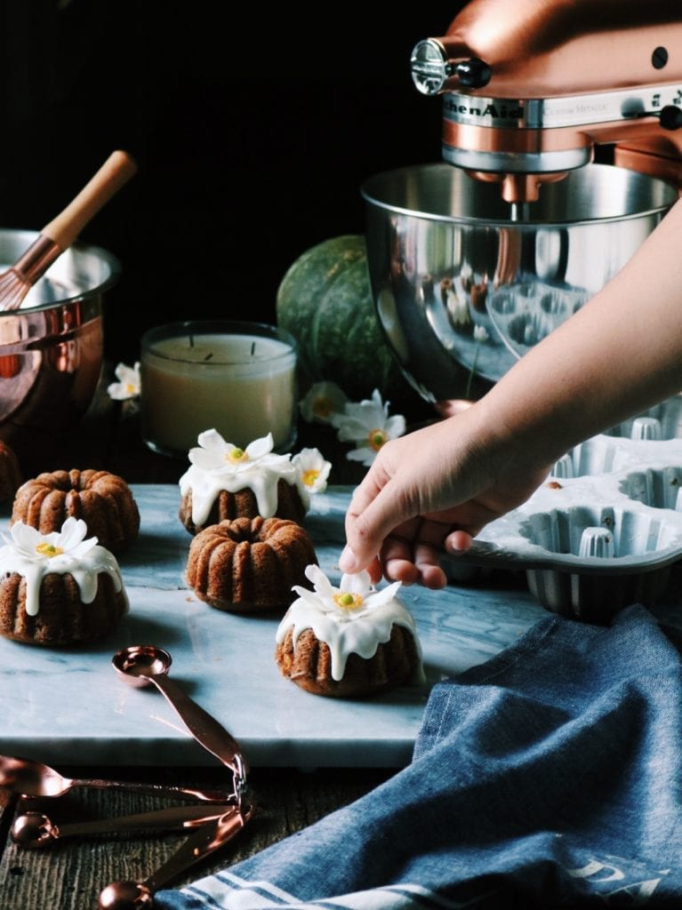 Pumpkin Bourbon Mini Cakes With Spiced Maple Glaze Recipe   Displaced Housewife