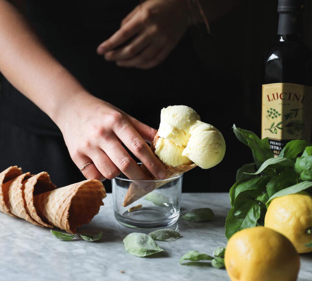 Lemon-Basil Olive Oil Gelato Recipe | DisplacedHousewife