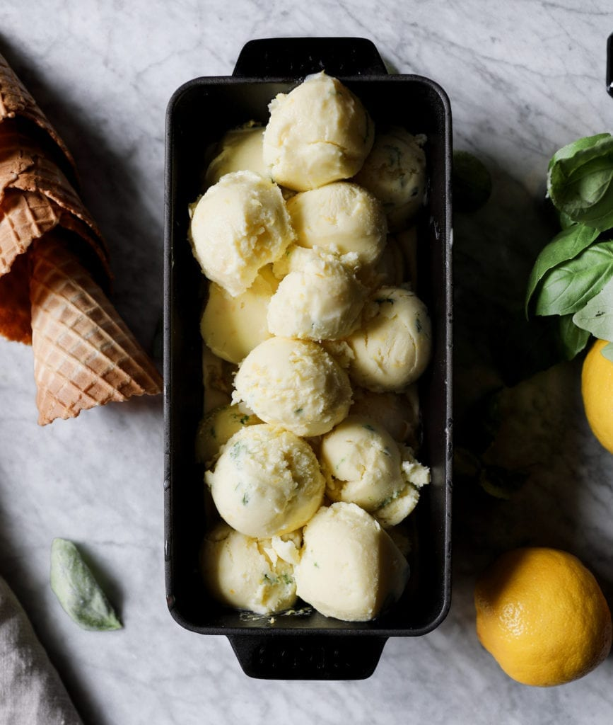 Lemon-Basil Olive Oil Gelato Recipe | DisplacedHousewife