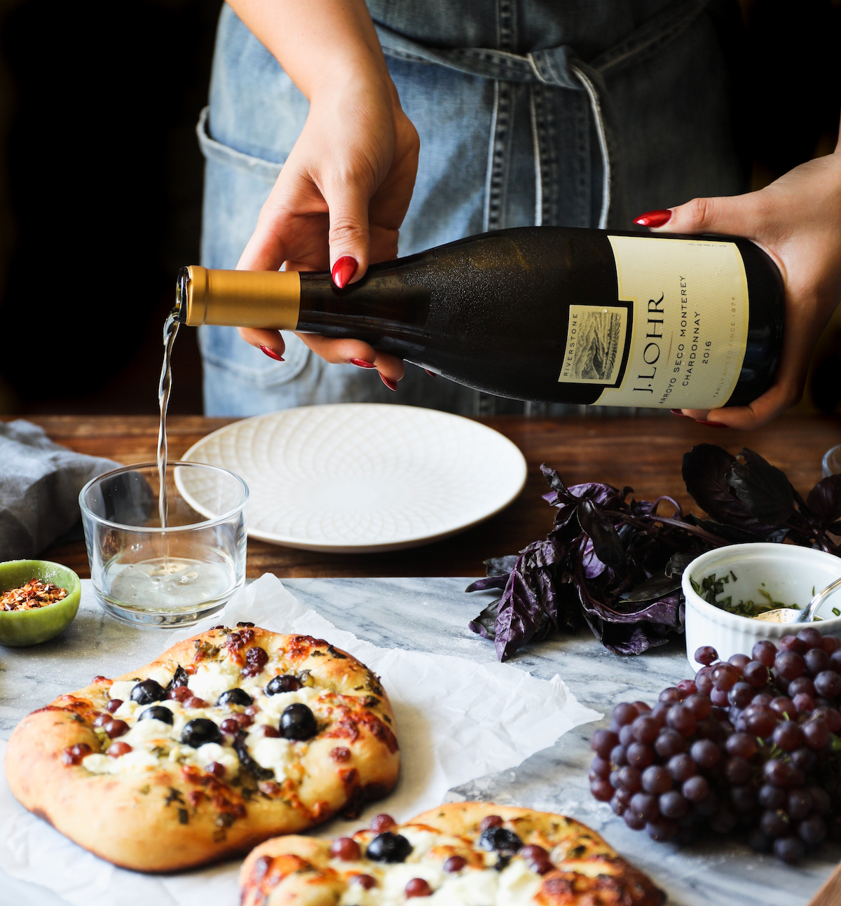 J. Lohr Estates Riverstone Chardonnay and Red Grape, Goat Cheese + Basil Beer-Crusted Pizza | DisplacedHousewife