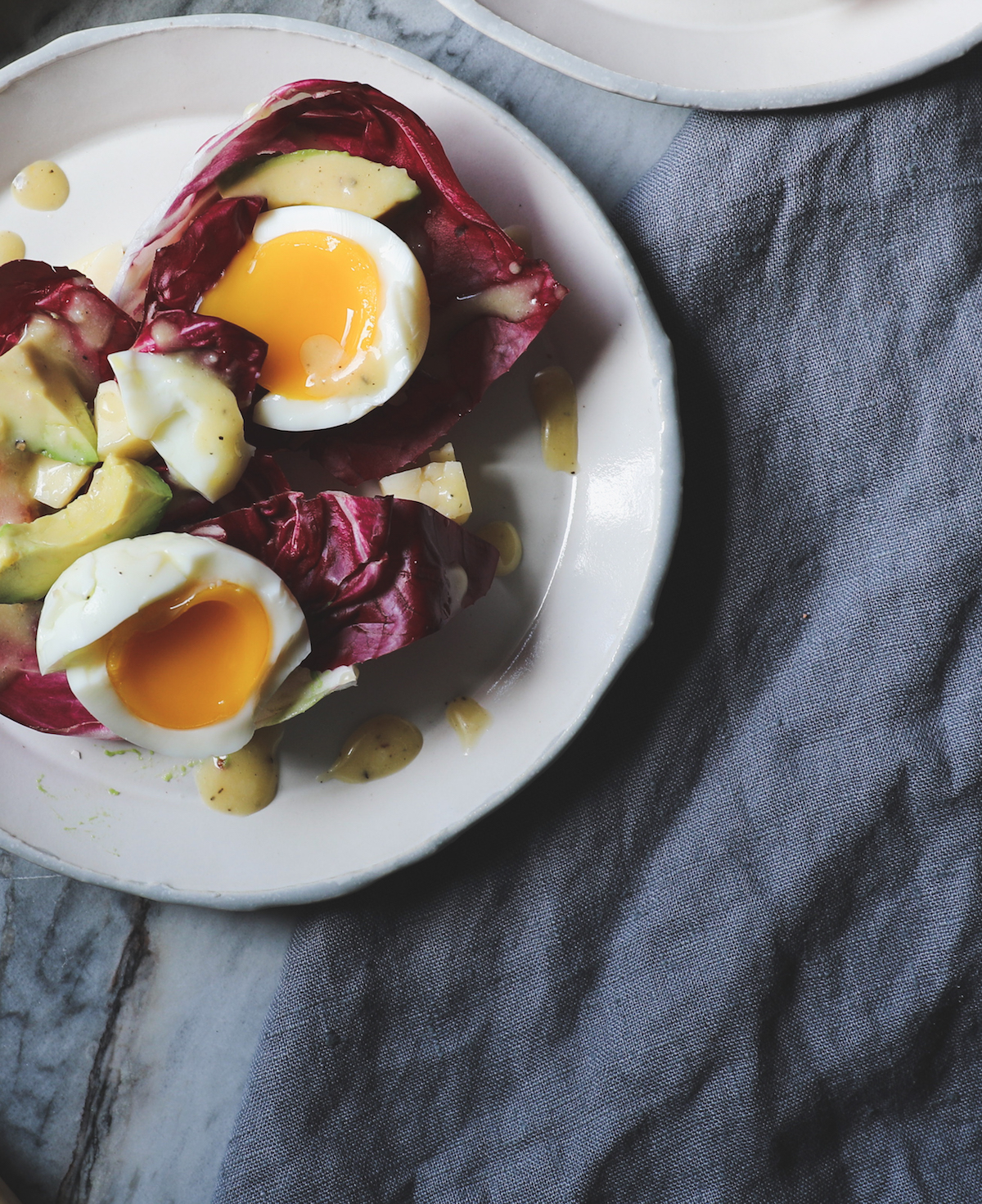 Radicchio, Avocado, White Cheddar, Jammy Eggs and Honey Mustard Dressing | DisplacedHousewife