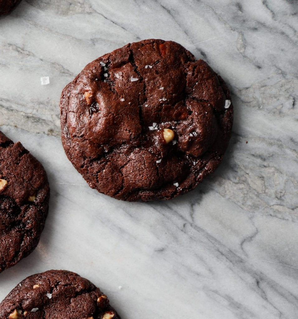 Dark Chocolate Hazelnut Truffle Cookies Recipe | DisplacedHousewife