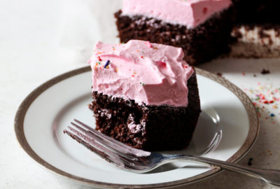 Chocolate Birthday Cake With Strawberry Marshmallow Frosting Recipe | DisplacedHousewife