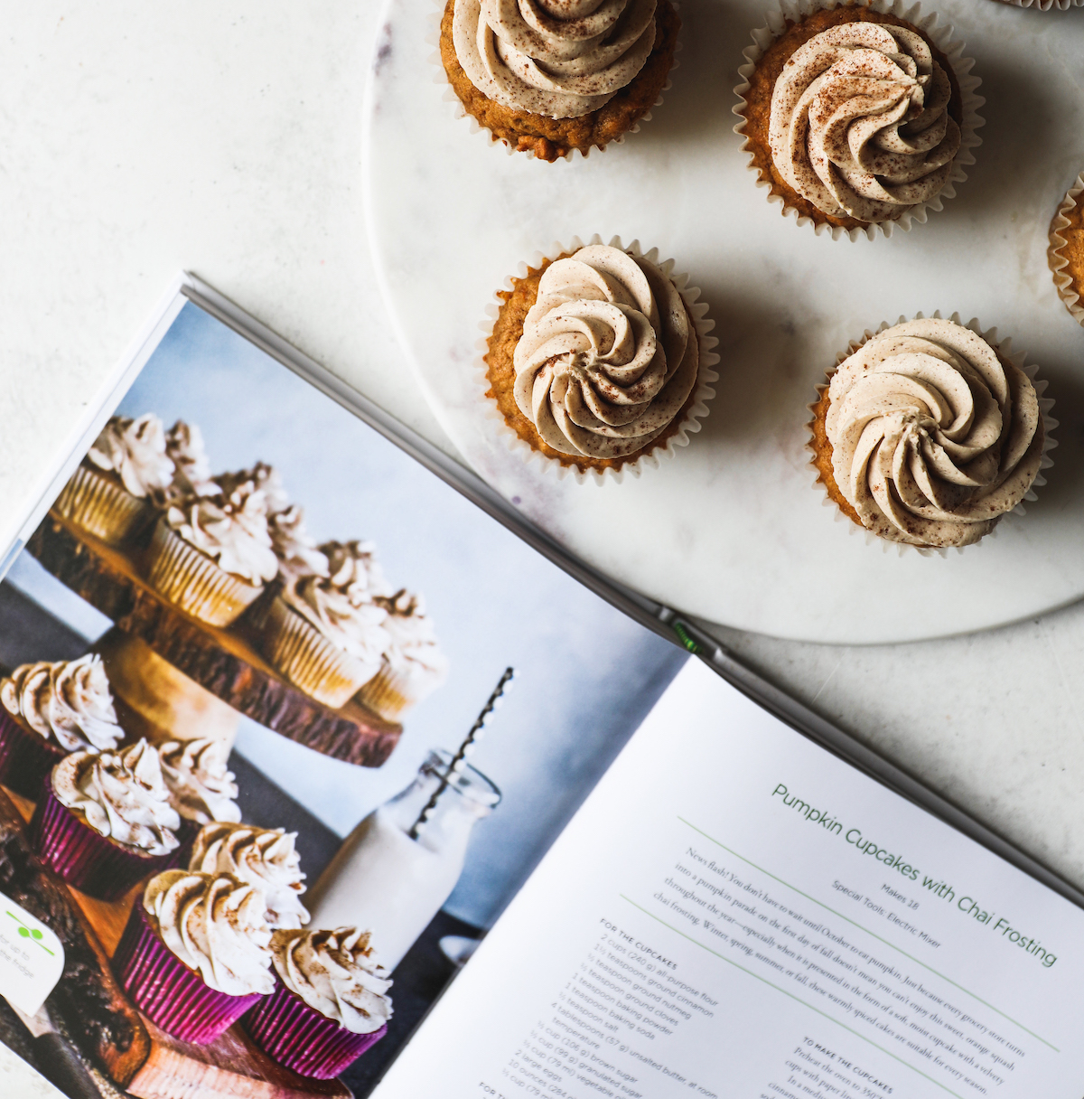 Pumpkin Cupcakes with Chai Frosting Recipe | DisplacedHousewife