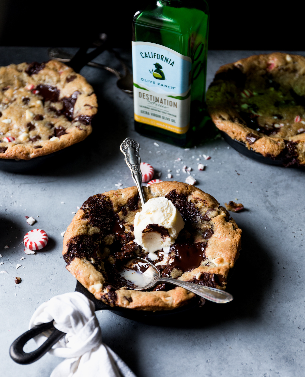 Chocolate Peppermint Olive Oil Skillet Cookie | Recipe via DisplacedHousewife Rebecca Firth