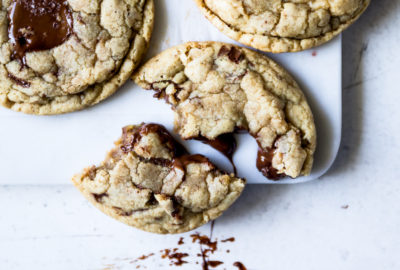 Toasted Oat Chocolate Chip Cookies | recipe via DisplacedHousewife Rebecca Firth